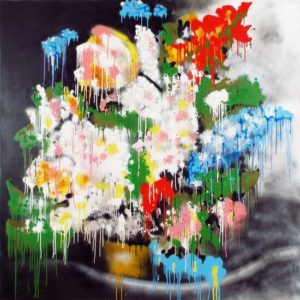 A Funeral for Both of Us, 2013 Spray enamel on hard board 60 x 60 inches; 152.4 x 152.4 cm Signed and dated on verso  SOLD