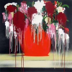 Untitled (SoHo Flowers Red), 2013 Spray enamel on canvas 36 x 36 inches; 91.4 x 91.4 cm Signed on verso