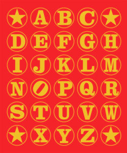 Alphabet (Gold on Red), 2011 Silkscreen on canvas 76 x 62.5 x 2 inches;  193 x 158.8 x 5 cm Signed, titled and Artist's Seal on verso