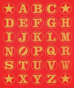Alphabet Study (Gold on Red), 2011 Silkscreen on canvas 28.75 x 24 x 2 inches; 73 x 61 x 5 cm Signed, titled and Artist's Seal on verso