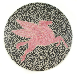 Pegasus, 2010 Oil and enamel marker on plastic sign 46.25 inches; 117.5 cm (diameter) SOLD