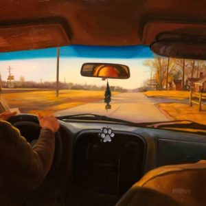 Backseat Driver, 2015 Oil on wood 18 x 18 inches; 45.7 x 45.7 cm