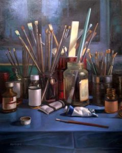 Studio Table, 1998 Oil on canvas 40 x 32 inches; 101.6 x 81.3 cm Signed lower left