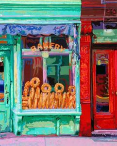 Bakery, 1999 Hand-cut Coloraid paper on archival paper 29 5/8 x 23 3/4 inches; 75.2 x 60.2 cm  SOLD