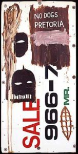 South African Nazism, 1985 Acrylic on enameled metal 72 x 36 inches; 182.9 x 91.4 cm Signed, dated and titled Authenticated SOLD