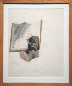 "Untitled (Gold Line), 1979 Mixed media and oilstick on paper Paper size: 11.87 x 8.875 inches;  30.2 x 22.5 cm Frame size: 14.75 x 11.75 inches;  37.5 x 29.8 cm Signed underneath torso of figure ""JEAN"" Authenticated SOLD"