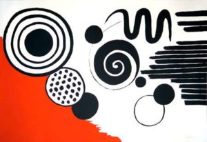 Composition with Black Spirals and  Circle with Red, 1970 Lithograph on paper 29 x 43 inches; 73.7 x 109.2 cm Edition: 145/150 Signed lower right SOLD