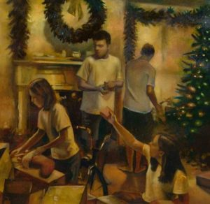 Christmas Morning, 2004 Oil on paper 22.5 x 23.25 inches; 57.2 x 59.1 cm