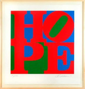Classic HOPE: Red, Blue, Green, 2010 Silkscreen on paper 40 x 38 inches; 101.6 x 96.5 cm Framed: 44.5 x 43 inches; 113 x 109.2 cm Edition of 82 Signed LR, numbered LL