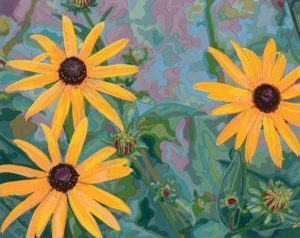 Black-Eyed Susan, 2004 Hand-cut Coloraid paper on archival paper 8 x 10 inches; 20.3 x 25.4 cm  SOLD