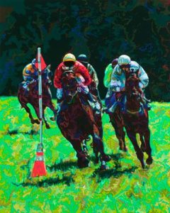 Steeplechase, 2002 Hand-cut Coloraid paper on archival paper 20 x 16 inches; 50.8 x 40.6 cm  SOLD