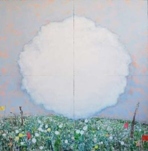 Dandelion Field, 2011 Mixed pigments on gessoed tarpaper 71 x 71 inches; 180.3 x 180.3 cm  SOLD