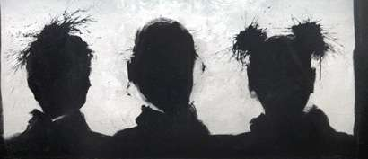 Gang of Three, 1984Acrylic on canvas22 x 50 inches; 55.9 x 127 cmSOLD