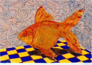 Big Gold Fish in a Room II, 2006 Strappo Monotype 22 x 30 inches; 55.88 x 76.2 cm Framed: 27 7/8 x 32 3/4 inches; 70.8 x 83.2 cm