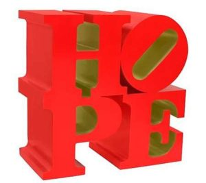"HOPE (red/gold), 2009-2013 Painted aluminum 18 x 18 x 9 inches;  45.7 x 45.7 x 22.9 cm Incised ""R. Indiana"" on letter E Limited Edition 9; RTP SOLD"