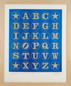 Alphabet Gold/Silver Rainbow on Blue Rainbow IV, 2011 Unique silkscreen on  Coventry 100% Rag paper Print size: 40 x 32.25 inches;  101.6 x 82 cm Frame size: 45 x 37.5 inches;  114.3 x 95.3 cm Signed and dated by Artist lower right