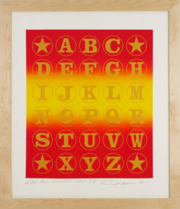 Red Gold Alphabet  (Gold on Red Rainbow), 2011 Silkscreen print on  Coventry 100% Rag paper Print size: 35.5 x 30 inches;  90.2 x 76.2 cm Frame size: 45.25 x 37.5 inches;  115 x 94 cm Signed and dated by Artist lower right Edition of 70 unframed