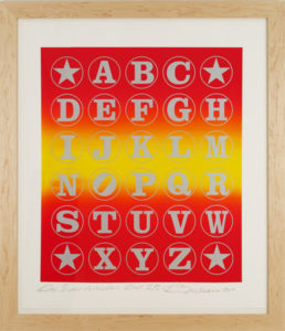 Red Silver Alphabet  (Silver on Red Rainbow), 2011 Silkscreen print on  Coventry 100% Rag paper Print size: 35.5 x 30 inches;  90.2 x 76.2 cm Frame size: 45.25 x 37.5 inches;  115 x 94 cm Signed and dated by Artist lower right Edition of 82 unframed
