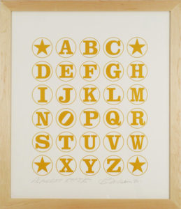 Alphabet  (Gold on White), 2011 Silkscreen print  on Coventry 100% Rag paper Print size: 35.5 x 30 inches;  90.2 x 76.2 cm Frame size: 40.75 x 35.25 inches;  103.5 x 90 cm Signed and dated by Artist lower right Edition of 40 unframed