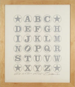 White Alphabet  (Silver on White), 2011 Silkscreen print  on Coventry 100% Rag paper Print size: 35.5 x 30 inches;  90.2 x 76.2 cm Frame size: 40.75 x 35.25 inches;  103.5 x 90 cm Signed and dated by Artist lower right Edition of 70 unframed