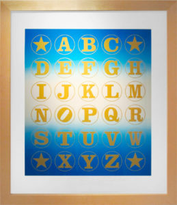 Blue Alphabet  (Gold on Blue Rainbow Blend), 2011 Silkscreen print  on Coventry 100% Rag paper Print size: 35.5 x 30 inches;  90.2 x 76.2 cm Frame size: 40.75 x 35.25 inches;  103.5 x 90 cm Signed and dated by Artist lower right Edition of 70 unframed