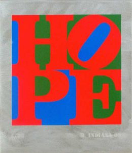Hope: Red, Green, Blue, 2009 Silkscreen and enamel on steel 14 x 12 inches; 35.6 x 30.5 cm Edition of 30 Etched with signature and date in steel