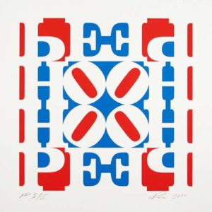Hope Wall: Red, White and Blue, 2010 Silkscreen on paper 23 x 23 inches; 58.4 x 58.4 cm Edition: 1/2 PP Signed LR, numbered LL