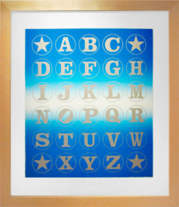 Silver Alphabet  (Silver on Blue Rainbow), 2011 Silkscreen print  on Coventry 100% Rag paper Print size: 35.5 x 30 inches;  90.2 x 76.2 cm Frame size: 40.75 x 35.25 inches;  103.5 x 90 cm Signed and dated by Artist lower right Edition of 82 unframed