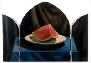 Watermelon, 2001 Oil on hand carved panel 14 x 20 inches; 35.6 x 50.8 cm