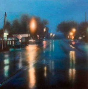 Rainy Night, 2015 Oil on wood 24 x 24 inches; 60.96 x 60.96 cm Signed