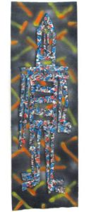 Cammo Street Wanderer, 2008 Paint on printed paper 49 x 16 inches