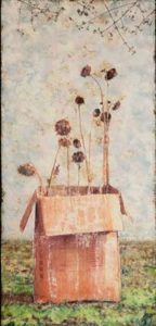 Sunflower in a Box, 2011 Mixed pigments on gessoed tarpaper 76 x 36 inches; 193 x 91.4 cm