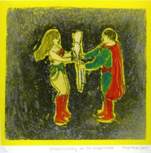 Understanding of the Superheroes, 2007 Silkscreen, paper litho and mixed media 8.5 x 8 inches; 21.6 x 20.3 cm