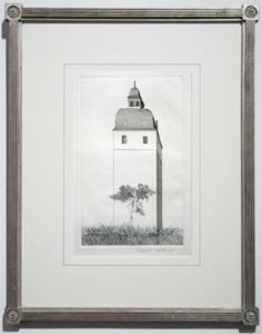 Bell Tower, (Illustrations for Six Fairy Tales from the Brothers Grimm - The Boy Who Left Home to Learn Fear), 1969 Etching and aquatint on paper Paper size: 10.38 x 6.5 inches;  26.5 x 16.5 cm Frame size: 21 x 16 inches;  53.3 x 40.6 cm Signed in pencil Edition: 100