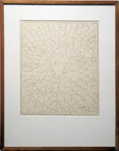 Noel, 1963 Ink on paper Paper size: 10 x 8 inches; 25.4 x 20.3 cm Frame size: 15.75 x 13.5 inches;  40 x 34.3 cm Signed and dated lower right