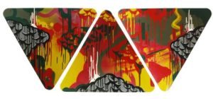 No Calm, Only Storm, 2010 Enamel on metal sign (3 panels) 25 x 61.5 inches; 63.5 x 156.2 cm