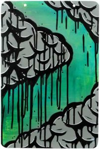 Darkclouds in Green, 2008 Enamel on metal sign; signed 18 x 12 inches; 45.7 x 30.5 cm