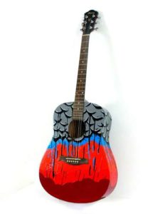 Untitled Guitar, 2007 Acrylic on Acoustic Guitar  41 x 15.5 x 5 inches