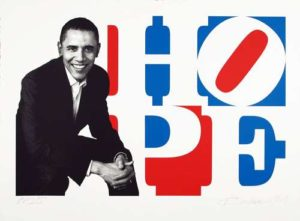 Obama Portrait: Red, White, Blue, 2009 Silkscreen on paper 28 x 40 inches; 71.1 x 101.6 cm Edition: PP Signed LR, numbered LL