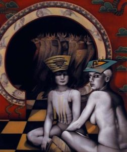 Indian Hat, Standing Dogs, 1993 Acrylic on canvas 72 x 60 inches; 182.9 x 152.4 cm