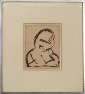 "Self Portrait, 1944 Brush and ink on paper postcard Paper size: 6 x 4.75 inches;  15.2 x 12.1 cm Frame size: 12.75 x 11.75 inches;  32.4 x 29.8 cm Monogram ""FK"" lower right"