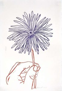Daisy (stamped Indelibly), 1967 Rubber stamp ink print Paper size: 9.5 x 6.5 inches;  24.1 x 16.5 cm Frame size: 15.75 x 12.75 inches;  40 x 32.4 cm Signed and dated