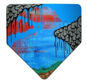 Process Blue Landscape, 2008  Enamel on metal Yield sign 29 3/8 x 24 inches; 74.6 x 61 cm Signed