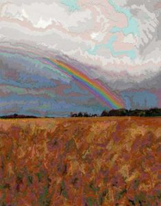 Rainbow, 2003 Hand-cut Coloraid paper on archival paper 14 x 11 inches; 35.6 x 27.9 cm