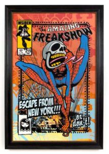 The Amazing Freak Show, 2009 Acrylic and silkscreen on wood Framed: 39 3/4 x 27 3/4 inches; 101 x 71 cm  SOLD
