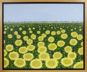 Tournesols sur Loire, 2012 Acrylic on canvas 23.5 x 29.5 inches; 59.7 x 74.9 cm Framed